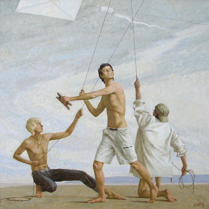 """Kites"" 2009 oil on canvas 150x150cm - Private collection, China"