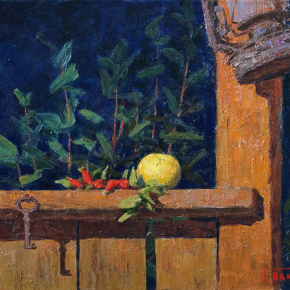 """Night Terrace"" 2006 oil on canvas 41x53cm - 500$"