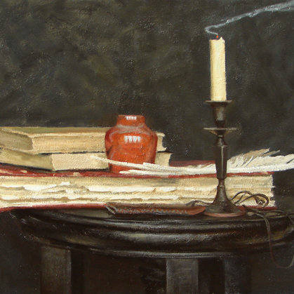 """Old books"" 2010 oil on canvas 45x70cm - Private collection, Russia"