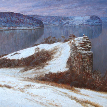 """Volga. The first snow"" 2009 oil on canvas 110x180cm - Bashkir Art Museum"