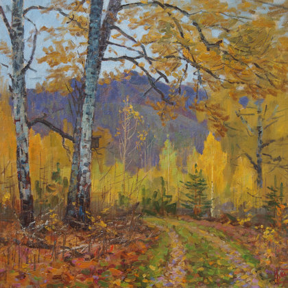 """Autumn Road"" 2014 oil on canvas 65x70cm - 700$"