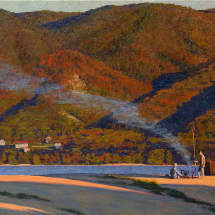 """Volga. Zhiguli Mountains"" 2007 oil on canvas 82x150cm - Private collection, South Korea"