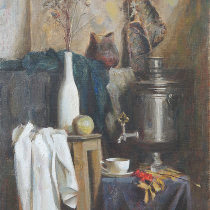 """Still Life with Rowan"" 1996 oil on canvas 80x58cm - Private collection, Russia"