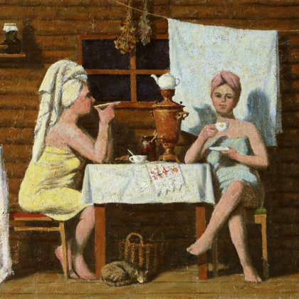 """""""After the Bath"""" 2006 Oil on canvas 60x75cm - Private collection, South Korea"""