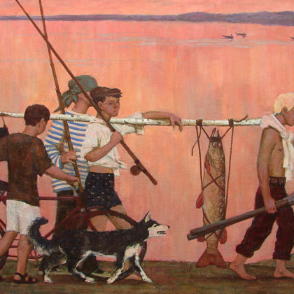 """""""Return from fishing"""" 2006 Oil on canvas 100x150cm - Private collection, South Korea"""