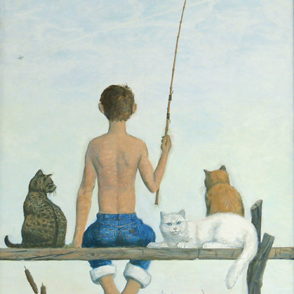 """""""Thursday-Fish Day"""" 2002 Oil on canvas 100x65cm - Private Collection, Russia"""