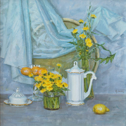 """It's time for dandelions"" 2012 oil on canvas 70x70cm - 1200$."
