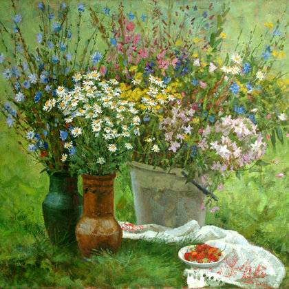 """Summer Flowers"" 2005 oil on canvas 67x78cm - Private collection, Germany"