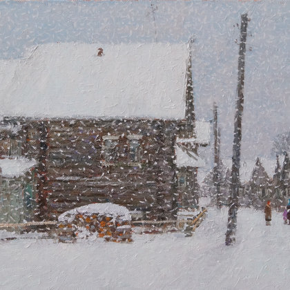 """""""Snowfall in Kimzhe"""" 2018 oil on canvas 50x70sm - Gallery ART1917, China"""