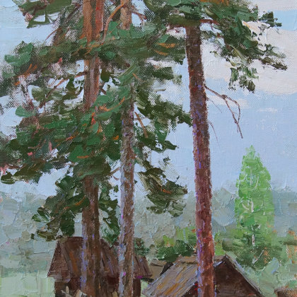 """""""Under the old pines"""" 2018 oil on canvas 70x50cm - 500$"""
