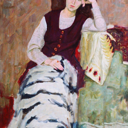 """""""Pensive"""" 1998 oil on canvas 128x83cm - Private collection, South Korea"""