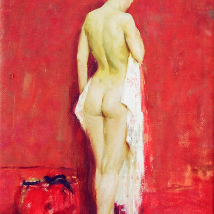 """""""Nude on Red"""" 1999 oil on canvas 40x30cm - Private Collective, Germany"""