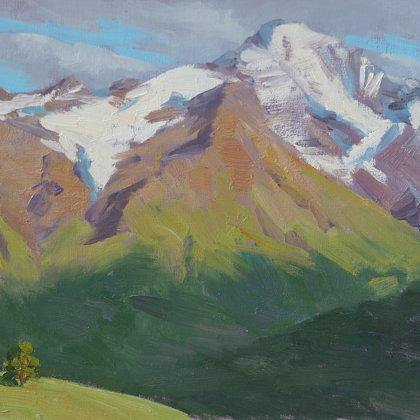 """In the Caucasus"" 2013 oil on cardboard 20x29cm - Private collection, Russia"