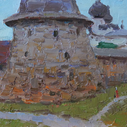 """Tower of the Solovetsky Monastery"" 2019 oil on canvas on cardboard 20x30cm - 65$"