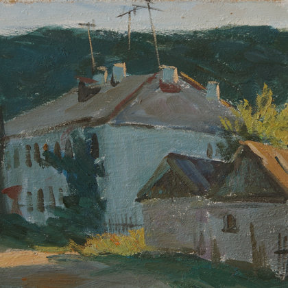"""Houses at sunset"" 2010 oil on cardboard 20x30cm - 65$"