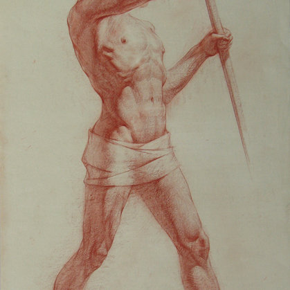 """Standing with a spear"" 2001 paper, sepia 73x44cm - 1000$"
