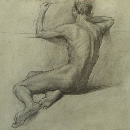 """The Model from the back"" 1999. paper, pencil 39x48cm - 250 $"