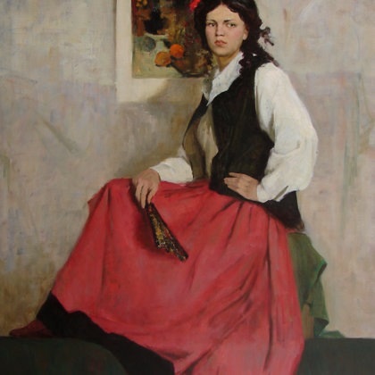 """""""Girl in Spanish Costume"""" 1997 Oil on canvas 125x105cm - Private collection, South Korea"""