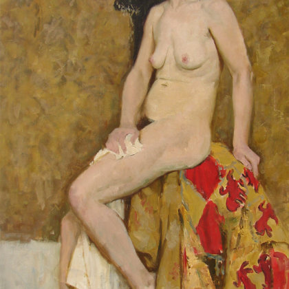 """""""Nude on a golden background"""" 1999 canvas, oil 111x63cm - 1650$"""