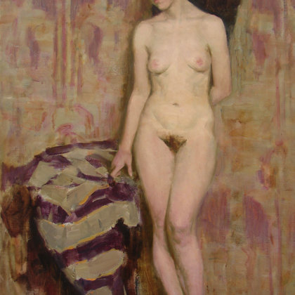 """""""Nude on a lilac background"""" 1998 oil on canvas 108x73cm - 1650$"""