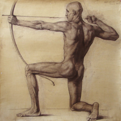 """Archer"" 1999 paper, sepia 100x100cm - Private collection, France"
