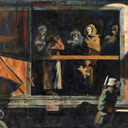 """""""To Germany. 1941"""" 1995 oil on canvas 47x55cm. - 600$"""