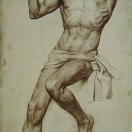 """A young man with a basket"" 2000 paper, sepia 140x70cm - Repin Institute"